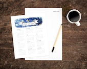 Instant Download Calendar - Under the Stars - For your Desktop - Watercolor & Hand Drawn - 8x10