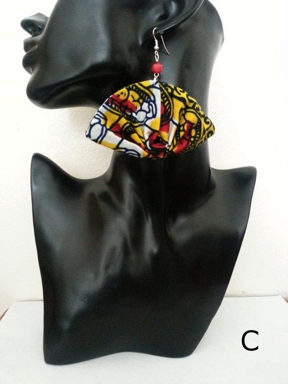Fan Earrings (African Print/ ankara fabric)  Red mix: A, B,  D or , E