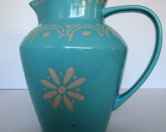 Ceramic Large Blue Country Cottage Water Pitcher
