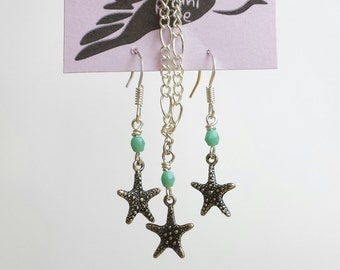 Turquoise and starfish earrings and necklace set