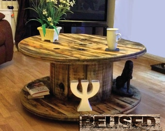 Unique Reused Cable Drum Rustic Coffee Table. These are made to order.
