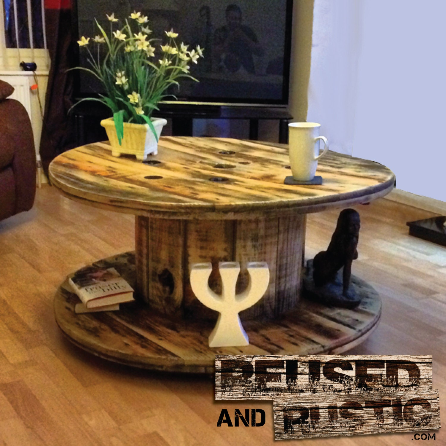 Unique Reused Cable Drum Rustic Coffee Table. These Are Made