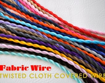 250 Ft. Cloth Covered Wire - Twisted Lamp Cord, Vintage Style Fabric Wire