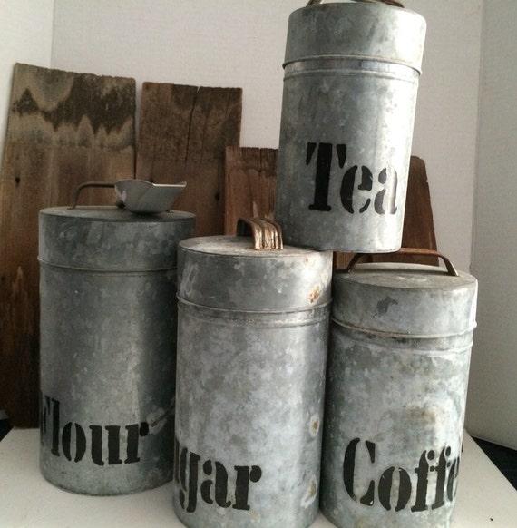 Farmhouse Kitchen Canister Sets: Canister Set. Galvanized Aluminum. Vintage 1960s. Flour Sugar