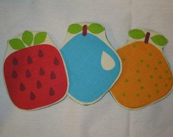 Orange coaster,fraise potholder, fruit coaster, fruits potholder,pear coaster,fruit potholder, quilted coaster,quilted potholder