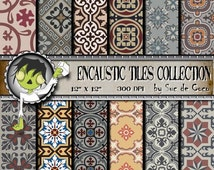 Digital Paper- ENCAUSTIC TILES Collection- For Scrapbooking, card and craft projects- 12 elegant sheets ready to use- Digital Download