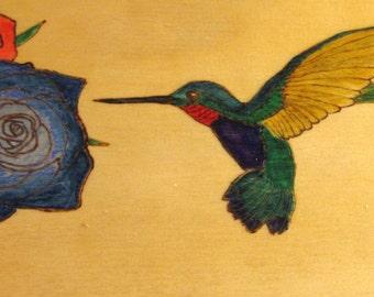 Jewelry Box - Hummingbird and roses woodburning