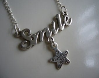 Smile-Just For You Necklace - Antique Smile Necklace - Smile-Just For You Pendant Charm - Smile Necklace- Smile- Star Necklace-  Nickel Free