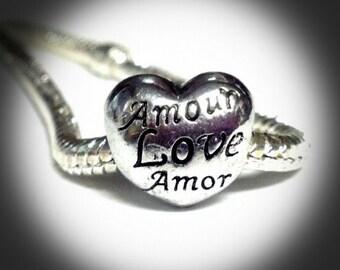 Language of Love Heart European Charm-138B