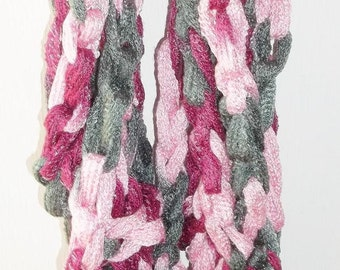 Arm Crochet Scarf, Infinity, Cowl, Ballet, Pinks, Gray, Mauve, Fashionable, Spring, Trendy, Lightweight, Accessories, Sashay/ Starbella Yarn