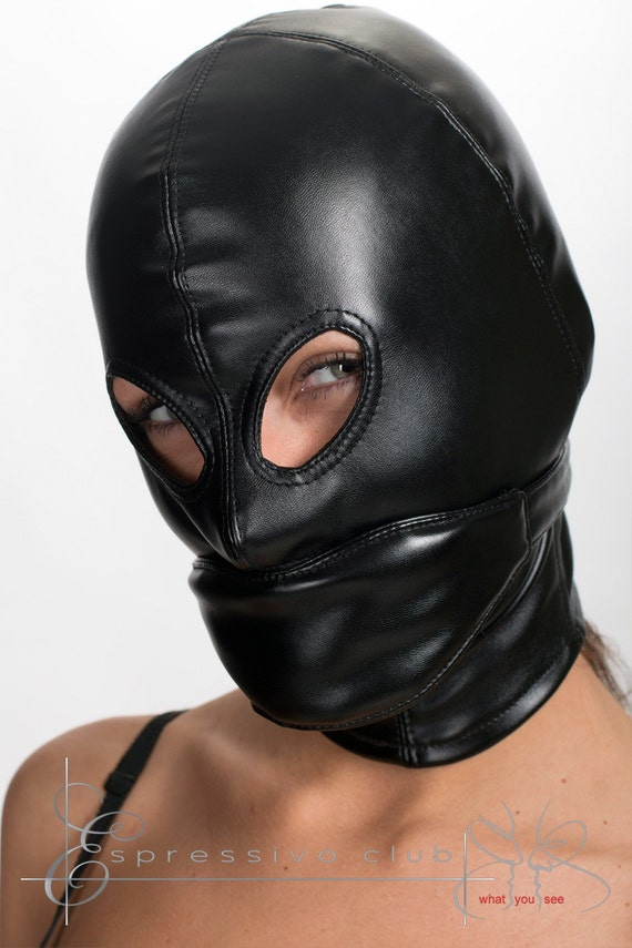 Leather Hood Mask With Soft Blindfold And Mouth By