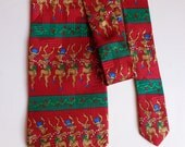 Vintage silk tie with Christmas motive