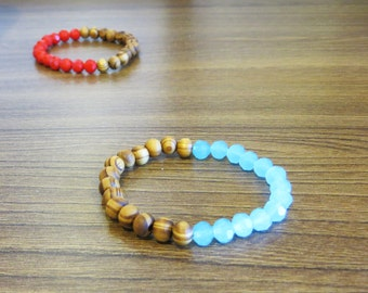 Stretchy Beaded bracelet - Wooden/Glass beads