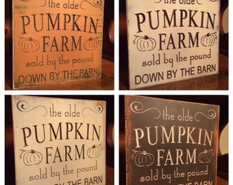 "Custom Carved Wooden Sign - ""The Olde Pumpkin Farm..."""