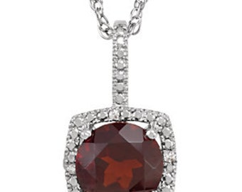 Garnet & Diamond Halo Necklace - Sterling Silver