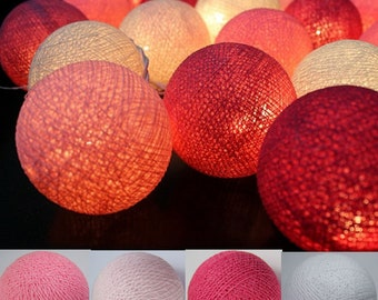 Pink Tone 20 Cotton Ball String Light Fairy Light Bedroom or Party