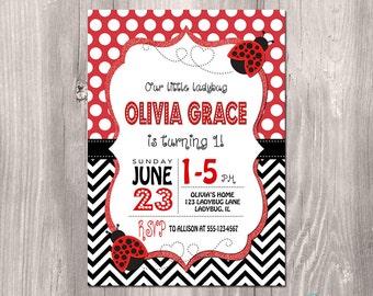 Ladybug Birthday Invitation - Ladybug Birthday Printable Invitation - Ladybug Invitation - Girl First Birthday Invitation