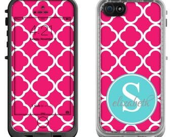 Raspberry Moroccan Blue Monogram -Lifeproof iPhone 6 Fre Nuud, LifeProof iPhone 5 5S 5C Fre Nuud, Lifeproof iPhone 4 4S Fre Decal Skin Cover