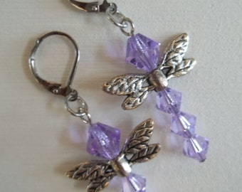 Molly - Violet Swarovski crystal dragonfly earrings