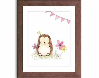 Watercolor Nursery Art - Hedgehog Art Print - Baby Girl Nursery Decor - Woodland Nursery - Pink and Yellow Nursery - Woodland Nursery - H301