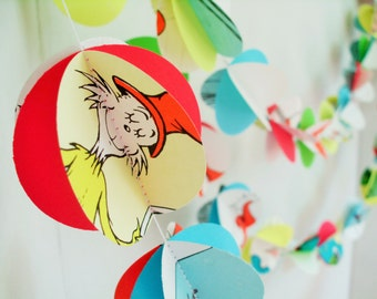 """Dr Suess Book PomPom PaperGarland upcycled  2"""" pompom circle papergarland 10' 3D party decoration Nursery decoration 3D PomPom paper garland"""