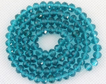 100 Pieces,Faceted Aqua Blue Crystal Glass,Aqua Blue Crystal Beads,One Full Strand,Crystal Beads,Gemstone Beads---6mm--17 inches--BR009
