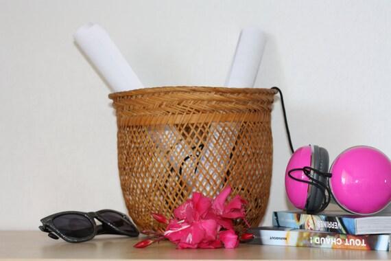 petit panier en osier fait main vintage cache pot. Black Bedroom Furniture Sets. Home Design Ideas
