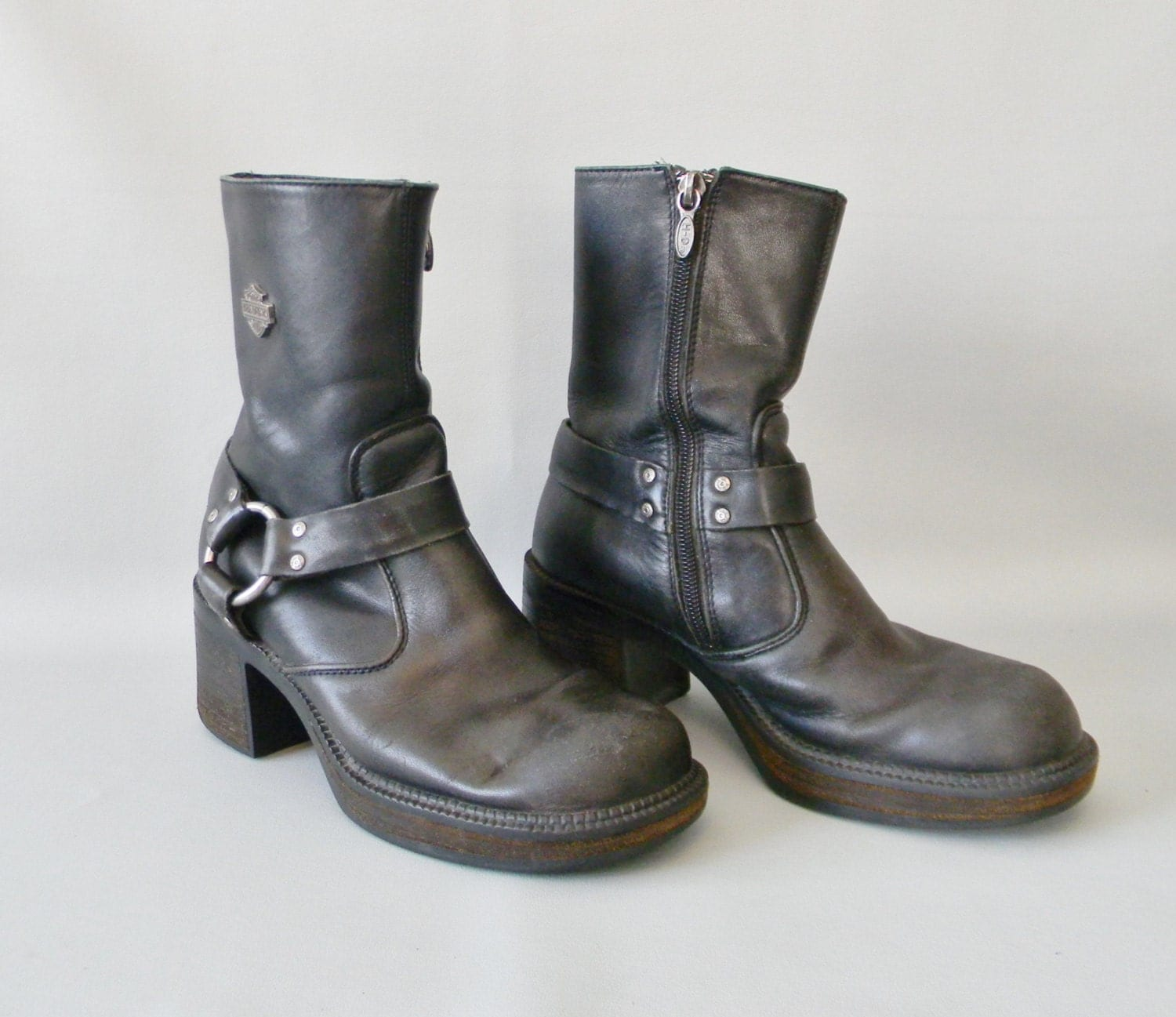womens vintage black leather ankle boots size 6