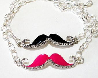 Mustache Silver Necklace - Pink Or Black Silver Rhinestone Mustache Pendant -  Chainmaille Necklace -  Charlie Chaplin - Choose your color
