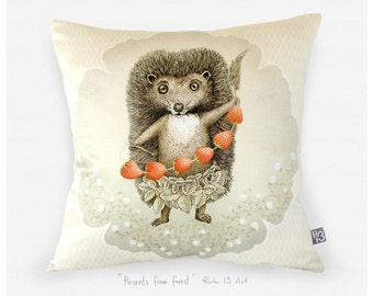 Art on cushion pillow cover - hedgehog  and strawberry - orange cream glossy satin luxurious artistic modern home decor detail for kids room