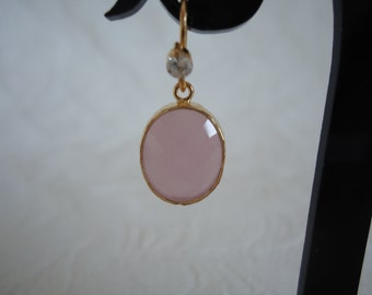 Pink crystal earrings ice