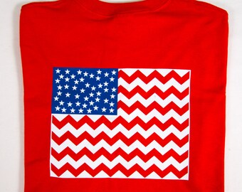 Patriotic Monogrammed Chevron American Flag T-Shirt. So cute for Memorial Day,July 4th and Labor Day!