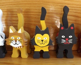 Wooden Cat Figurine - Various Patterns - Custom Made - Low Detail