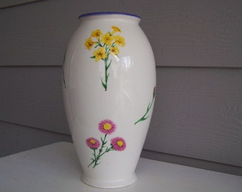 White Flowered Vase
