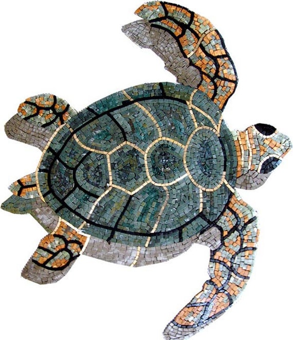 Sea Turtle Marble Mosaic Outdoor Decor. MA299
