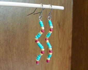 Playful Beaded Zig-Zag Earrings
