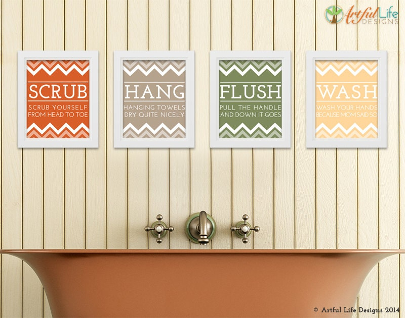 Bathroom Rules Wall Decor : Bathroom wall art rules set of four by
