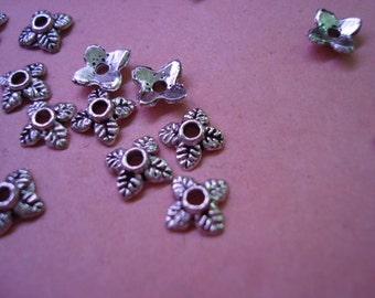 200 or 800 Antique Silver Leaf Caps. Overstock! 6 to 7mm. Tiny 4 Leaf Silver Cap For 8mm Beads. USPS Ship Rates/ Oregon