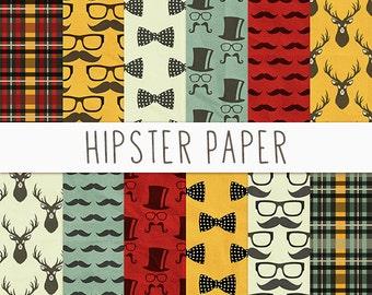 Hipster Digital Paper, Digital Scrapbook Paper, Getntleman Digital Paper, Gentleman Patterns, Hipster Digital Paper Pack, Instant Download