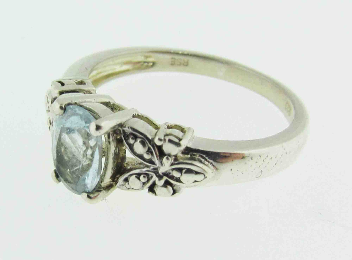 sterling silver ring with blue topaz stone. Black Bedroom Furniture Sets. Home Design Ideas