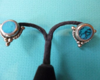 Turquoise Earrings Sterling Silver Post Pierced MAde in Taxco Mexico