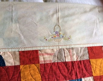 Embroidered Chinner Linen for Quilt's Vintage 1930's