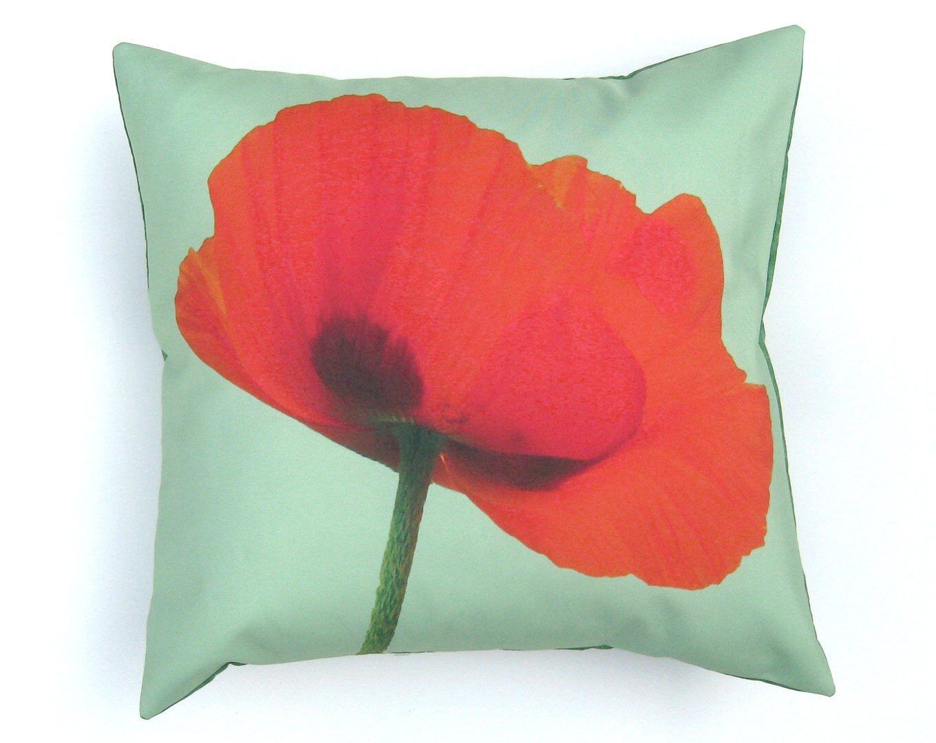 Red Poppy Decorative Pillow : Red Poppy Flower Green Pillow Cover 16 inch Decorative Throw