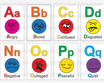 Emotions Faces Chart Abc emotion face flashcards.