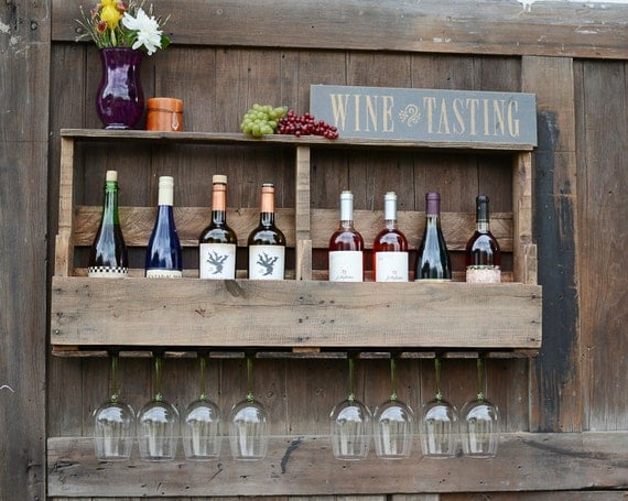 SHOP SALE!! Wine Rack, Reclaimed Pallet wood, 8 bottle storage, 8 glass slots, Early American Stain / 78 Dollars was 99