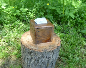 Rustic reclaimed pallet wood square tissue box cover, repurposed wood, pallet, recycled