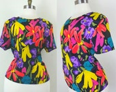 CLEARANCE 80s Painterly Blouse Black and Bright Short Sleeve Large