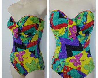 80s One-Piece Swimsuit Bathingsuit Strapless Underwire Rhinestone Bedazzled One-piece Bombshell Size 10/32