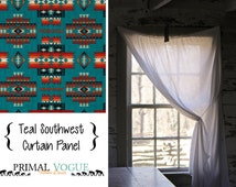 Teal Tucson Southwest Curtain Panel With Rod Pocket