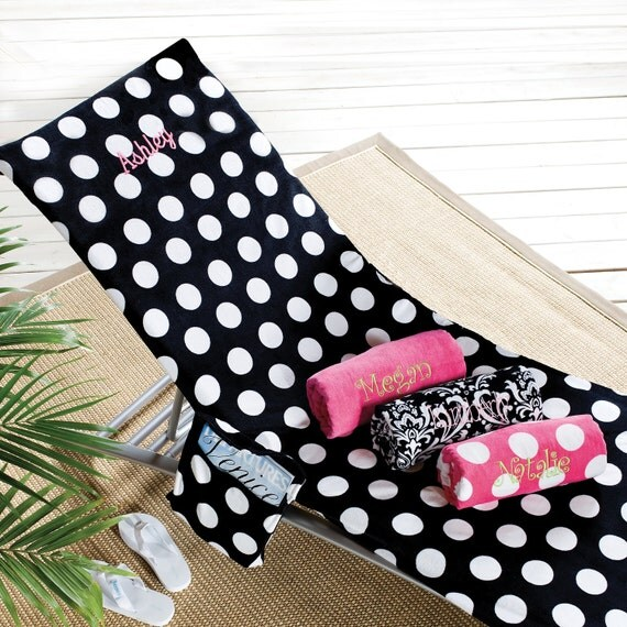 Colorful Deluxe Lounge Chair Cover Black w Polka Dots